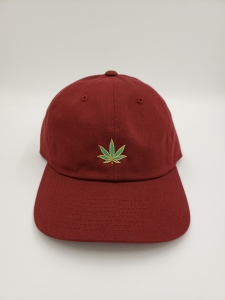 GS49 Pot Leaf Dad Hat Maroon